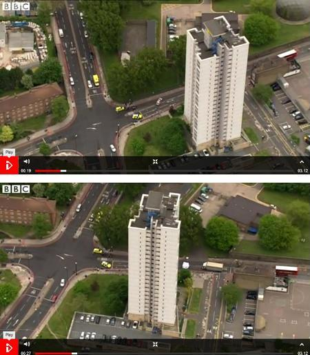Now you can see the scene taken from the helicopter and compare to the