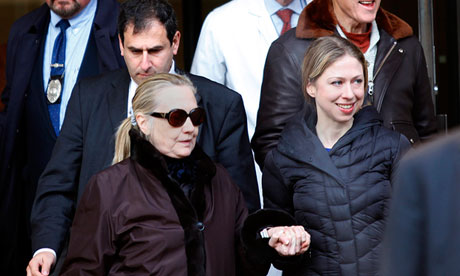State Hillary Clinton leaves New York Presbyterian Hospital on 2 January.