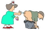 Nurse Woman Giving a Man a Subcutaneous Injection Vaccine With a Needle in His Butt