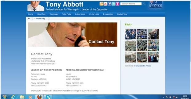 Email to Tony Abbott