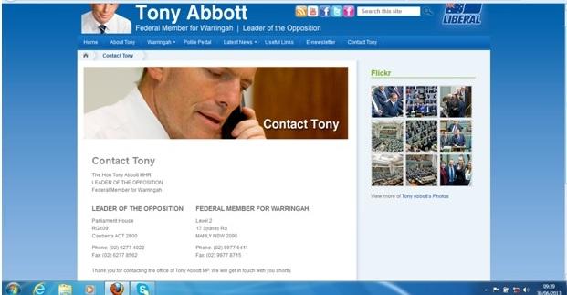 Email to Tony Abbott
